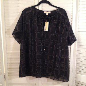 Michael Kors NEW 3X Black Lined Dressy Blouse Top